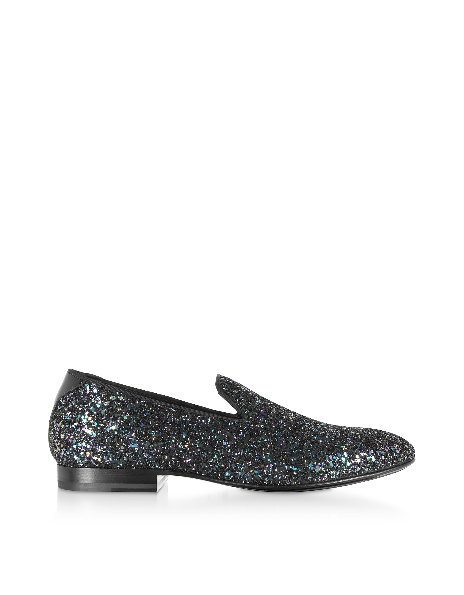Jimmy Choo Designer Shoes, Petrol Glitter fabric THAME Slipper Shoes
