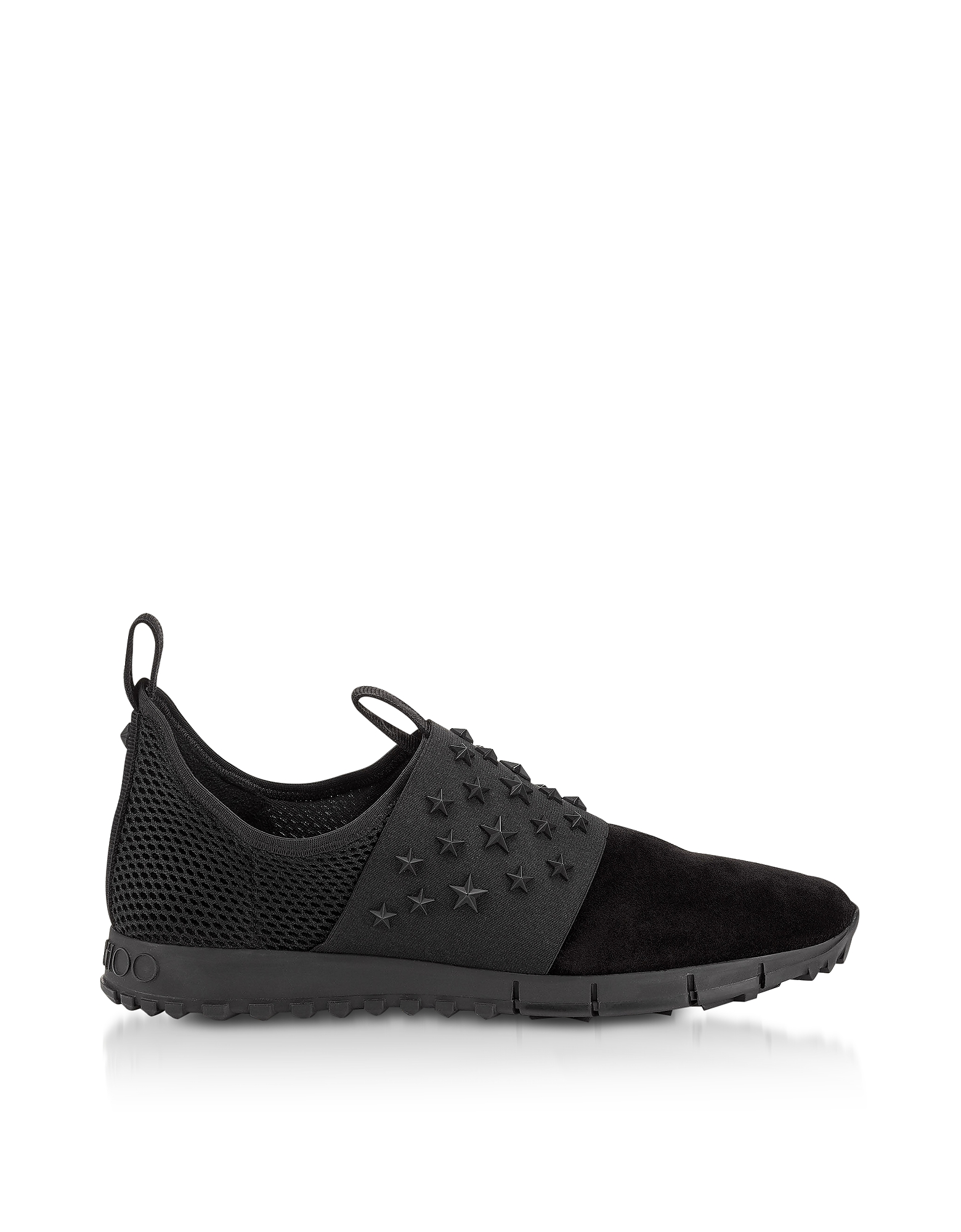 OAKLAND/M Black Suede and Mesh Slip On Trainer w/Stars