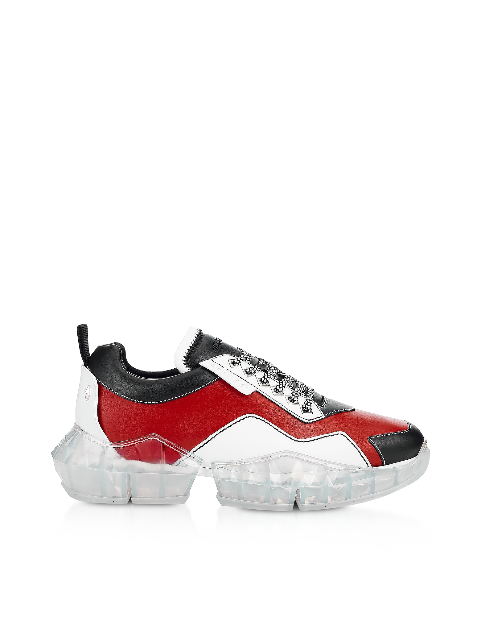 Red & Black Soft Leather DIAMOND/M Low Top Trainers