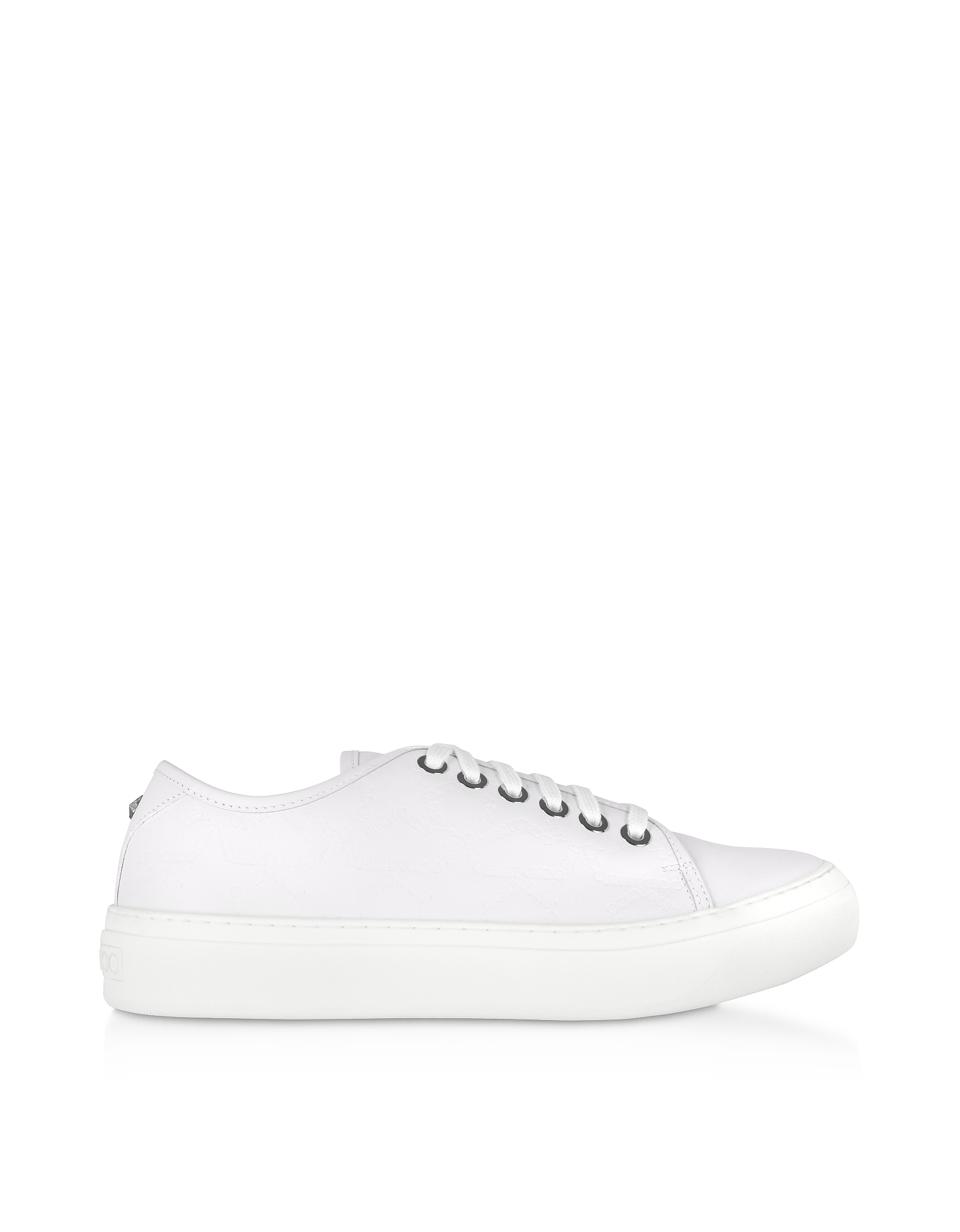 Jimmy Choo Designer Shoes, White Embossed Leather AIDEN Low Top Trainers