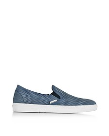 Jeans Woven Embossed Suede Slip On Sneaker - Jimmy Choo