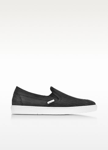 Grove Black Woven Embossed Suede Slip On Sneaker - Jimmy Choo