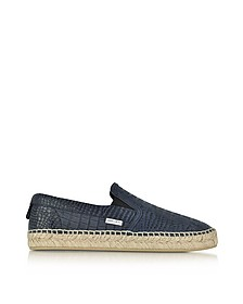 Vlad Uniform Blue Croco Printed Nubuck Espadrilles - Jimmy Choo