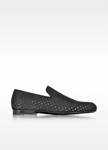 Sloane Black Star Perforated Dry Suede Loafer - Jimmy Choo