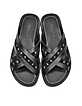 Wally Black Leather Sandal w/Gunmetal Stars - Jimmy Choo