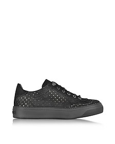 Ace Black Star Perforated Dry Suede Low Top Sneaker - Jimmy Choo
