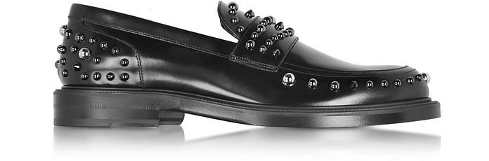 Don Black Shiny Leather Loafer w/Gunmetal Studs - Jimmy Choo