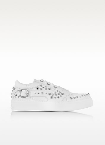 Roman White Leather Low Top Sneaker w/Studs - Jimmy Choo