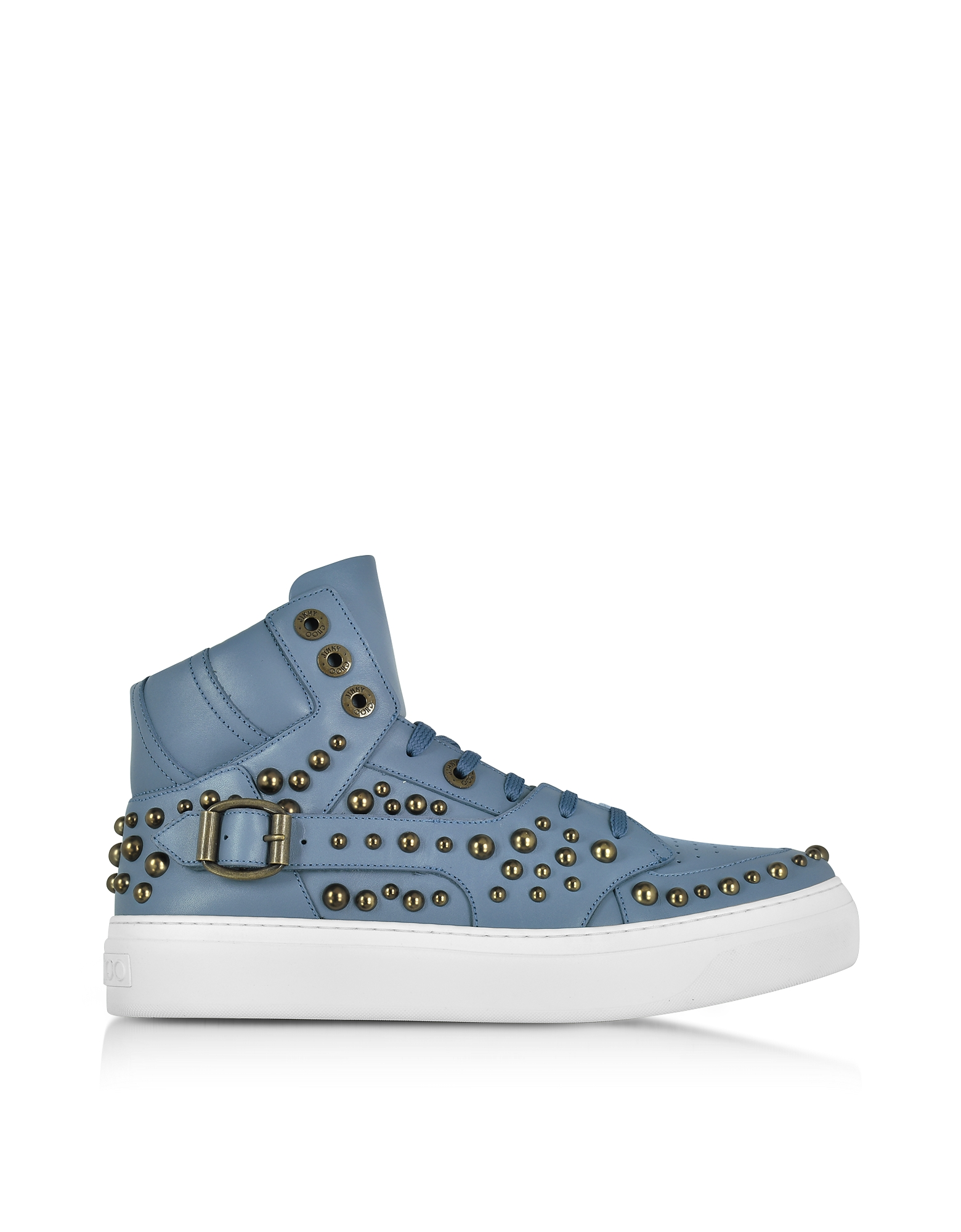 Jimmy Choo Shoes, Ruben Jean Leather High Top Sneaker w/Studs