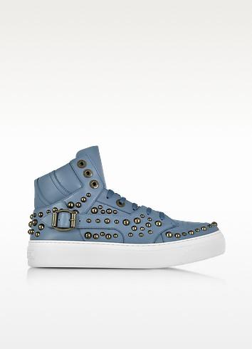 Ruben Jean Leather High Top Sneaker w/Studs - Jimmy Choo