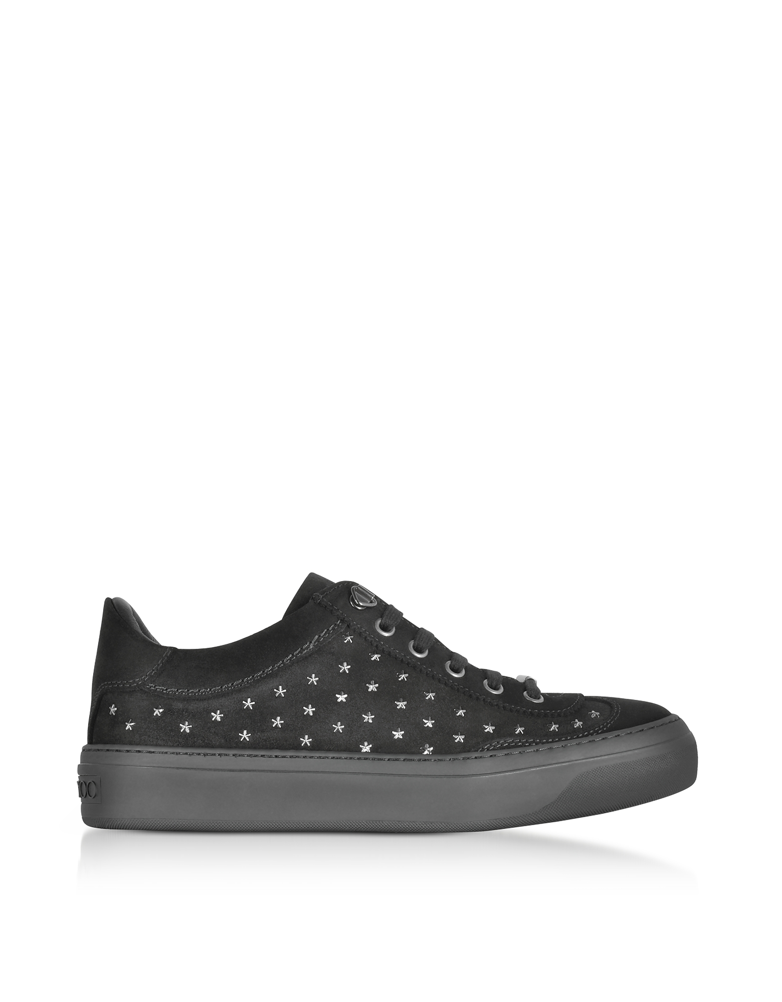 Jimmy Choo Shoes, Ace UMP Black Suede w/Stars Lace up Sneakers