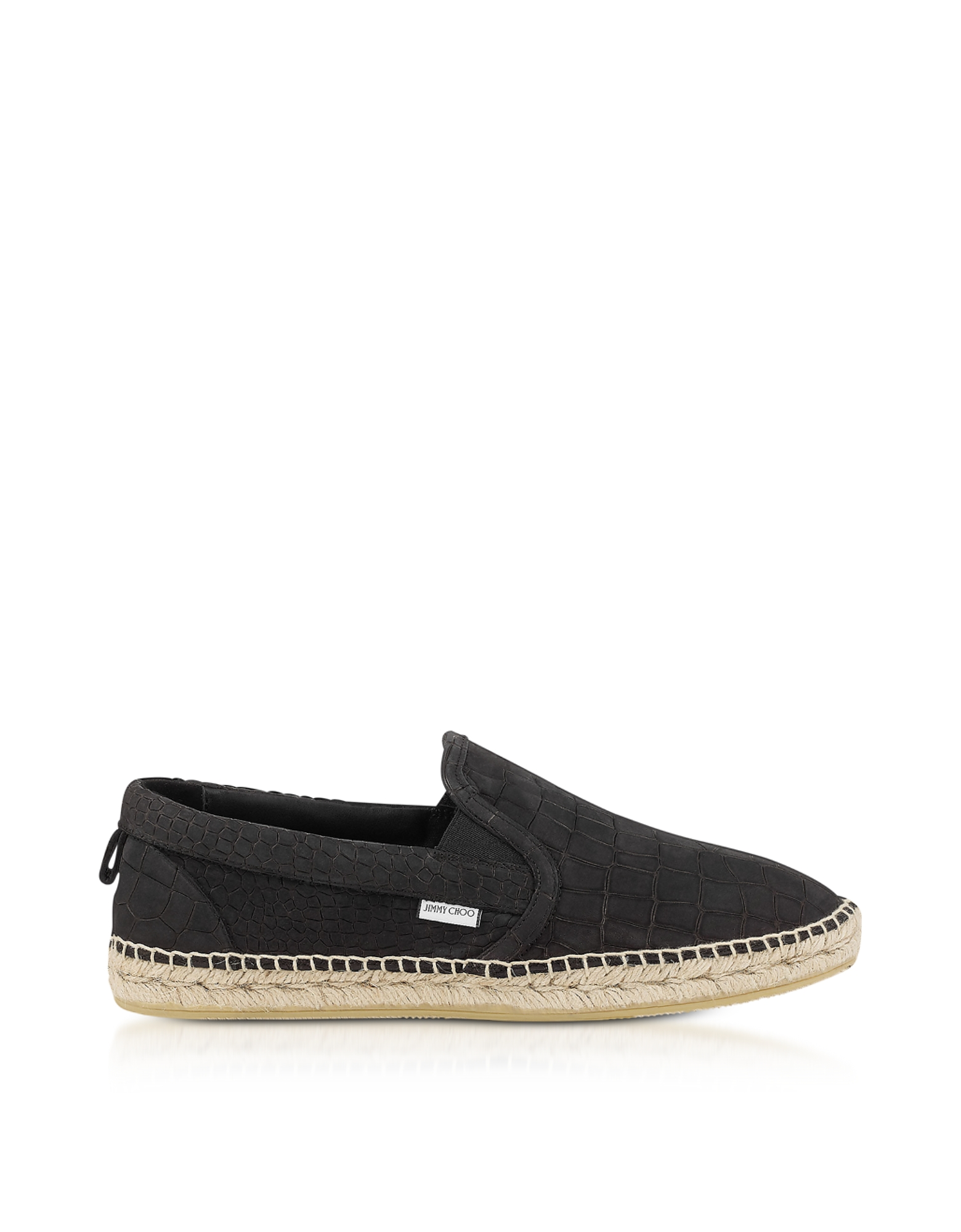 Jimmy Choo Shoes, Vlad Black Croco Printed Nubuck Espadrilles
