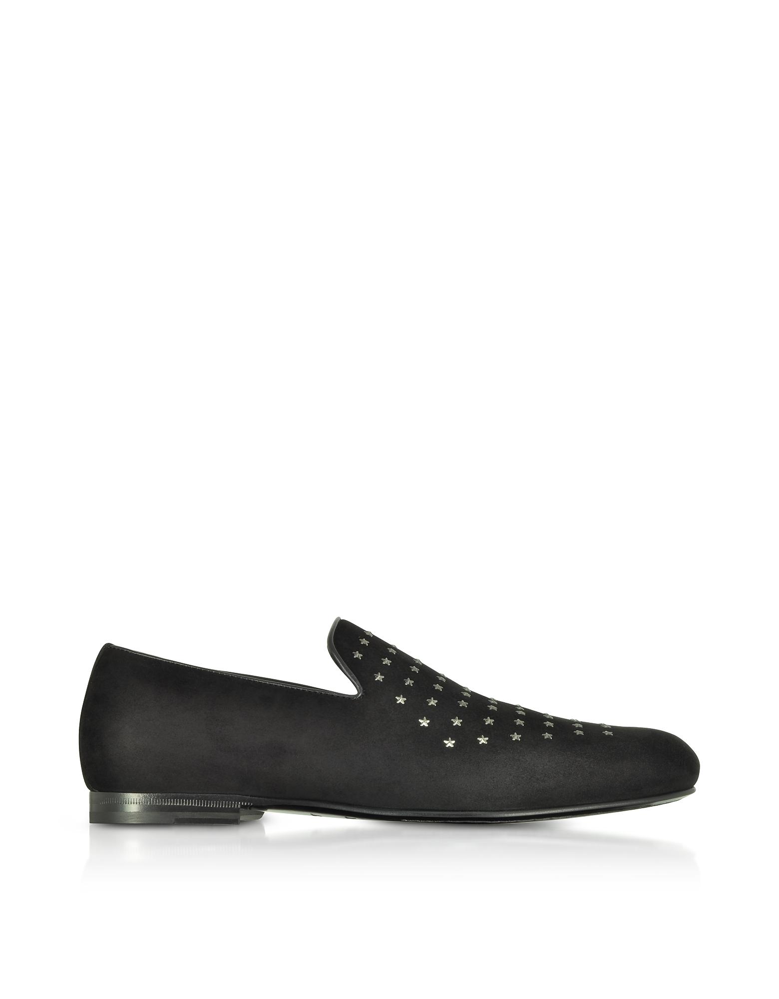 Jimmy Choo Shoes, Sloane UMP Black Suede Loafers w/Gunmetal Mini Stars