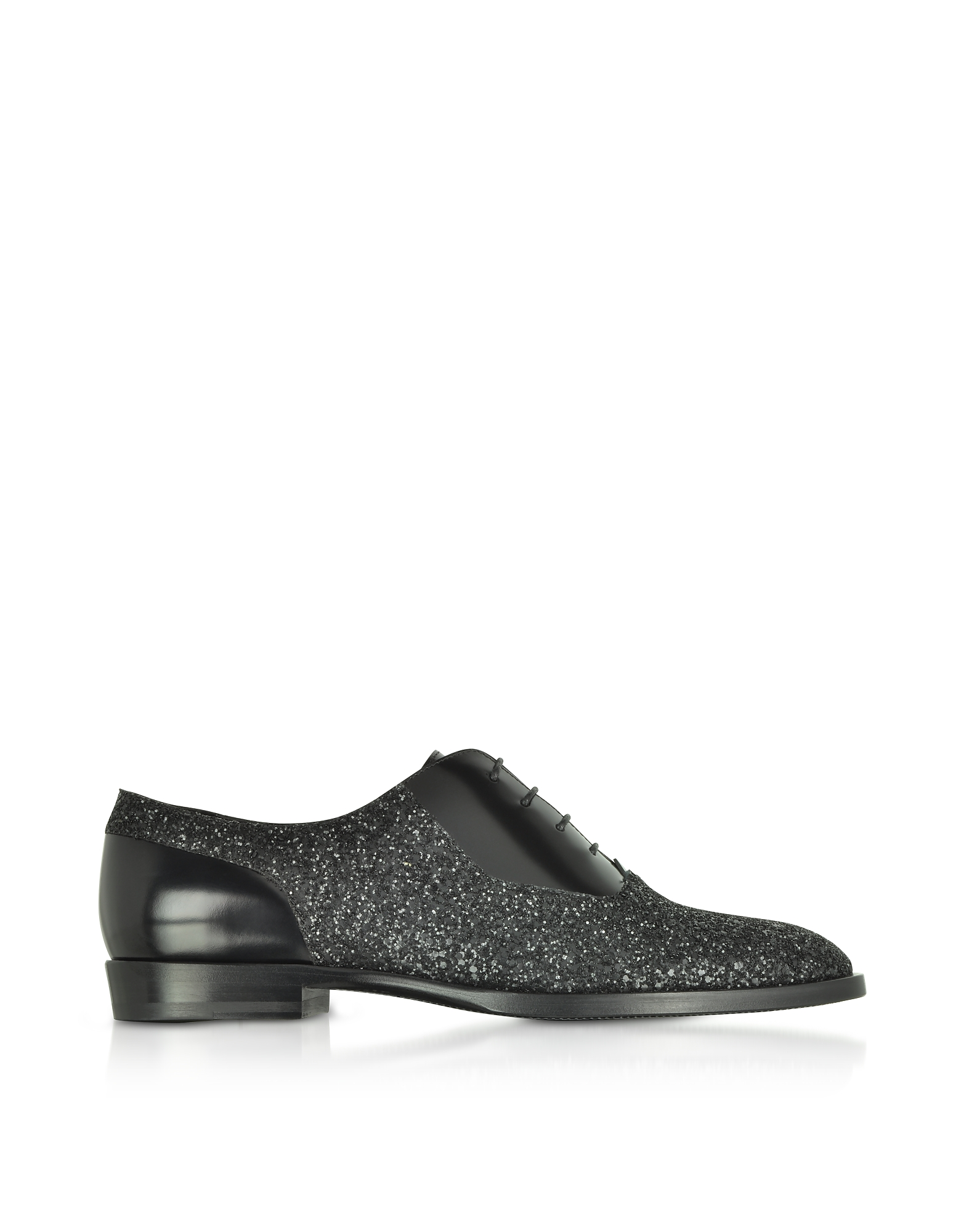 Jimmy Choo Shoes, Tyler OGA Black Leather and Glitter Fabric Oxford Shoes
