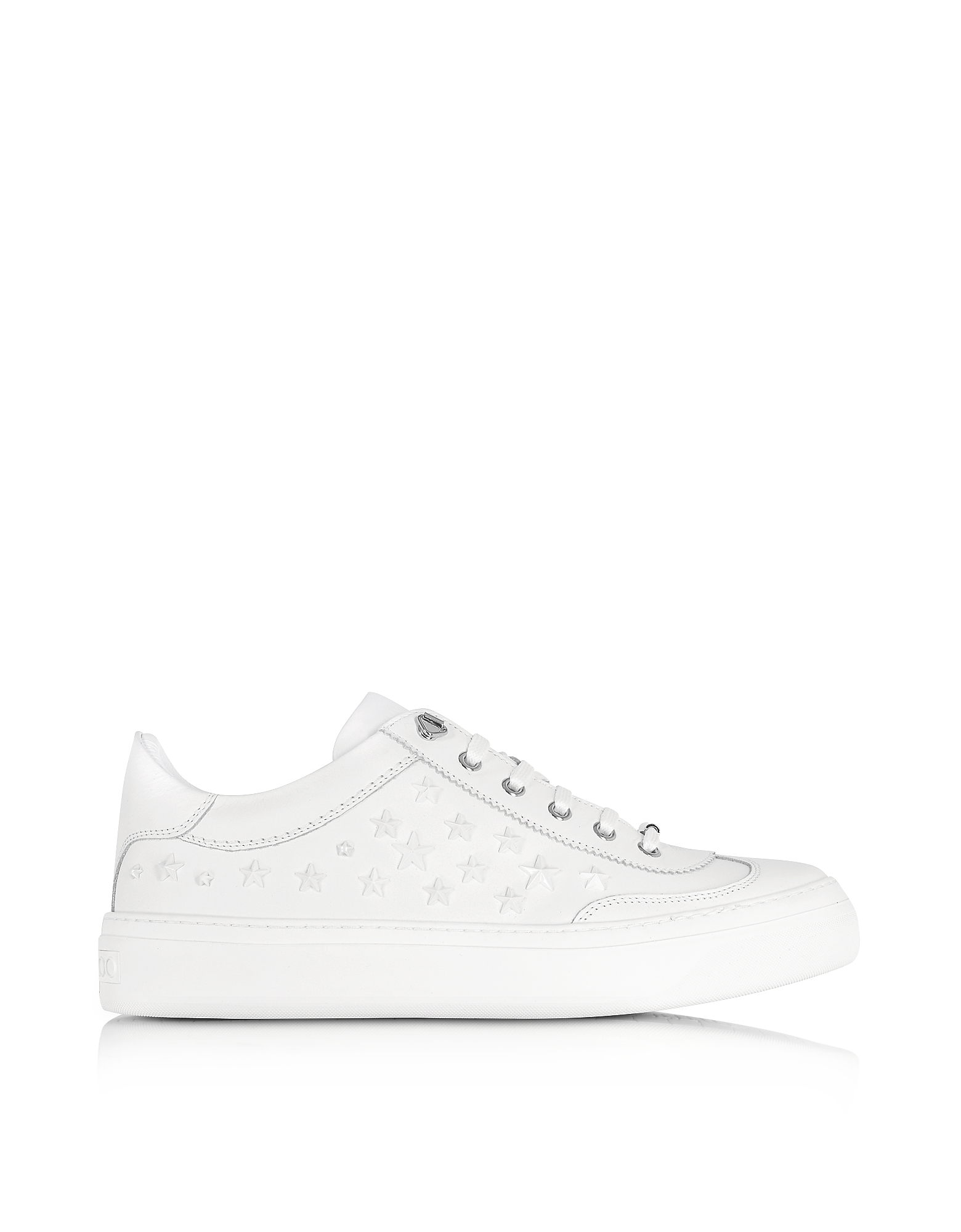 Jimmy Choo Shoes, Ace Sport Ultra White Leather w/Mixed Stars Low Top Sneakers