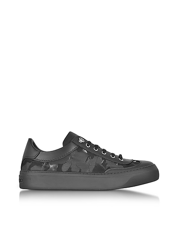 Jimmy Choo - Ace Black Camo Fabric Mix Low Top Sneakers