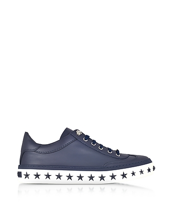 Jimmy Choo - Ace Sport Official Navy Leather Low Top Sneakers w/Star Studded Sole