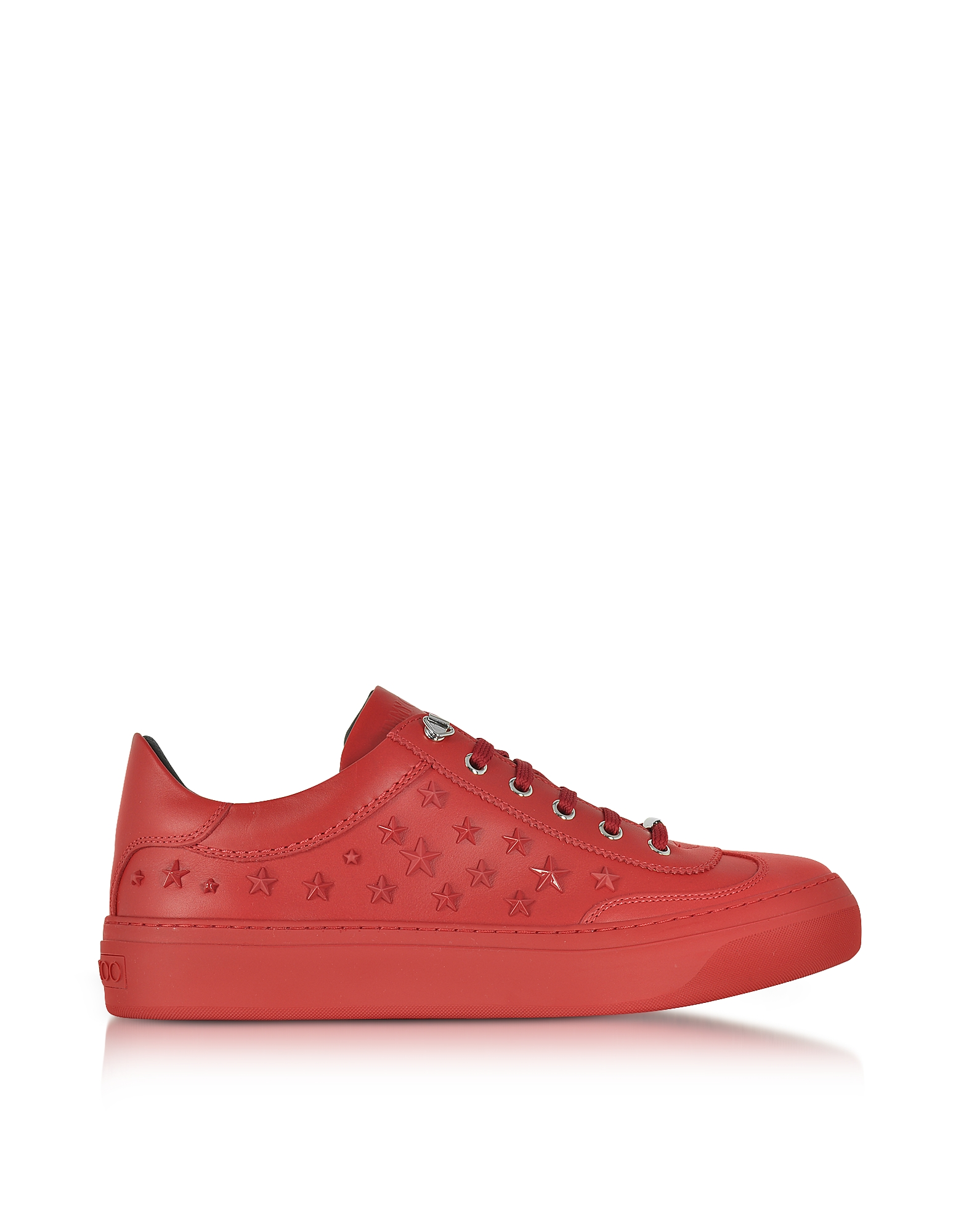 Jimmy Choo Shoes, Ace Sport Deep Red Leather Low Top Sneakers w/Mixed Stars