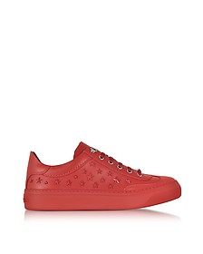 Ace Sport Deep Red Leather Low Top Sneakers w/Mixed Stars - Jimmy Choo