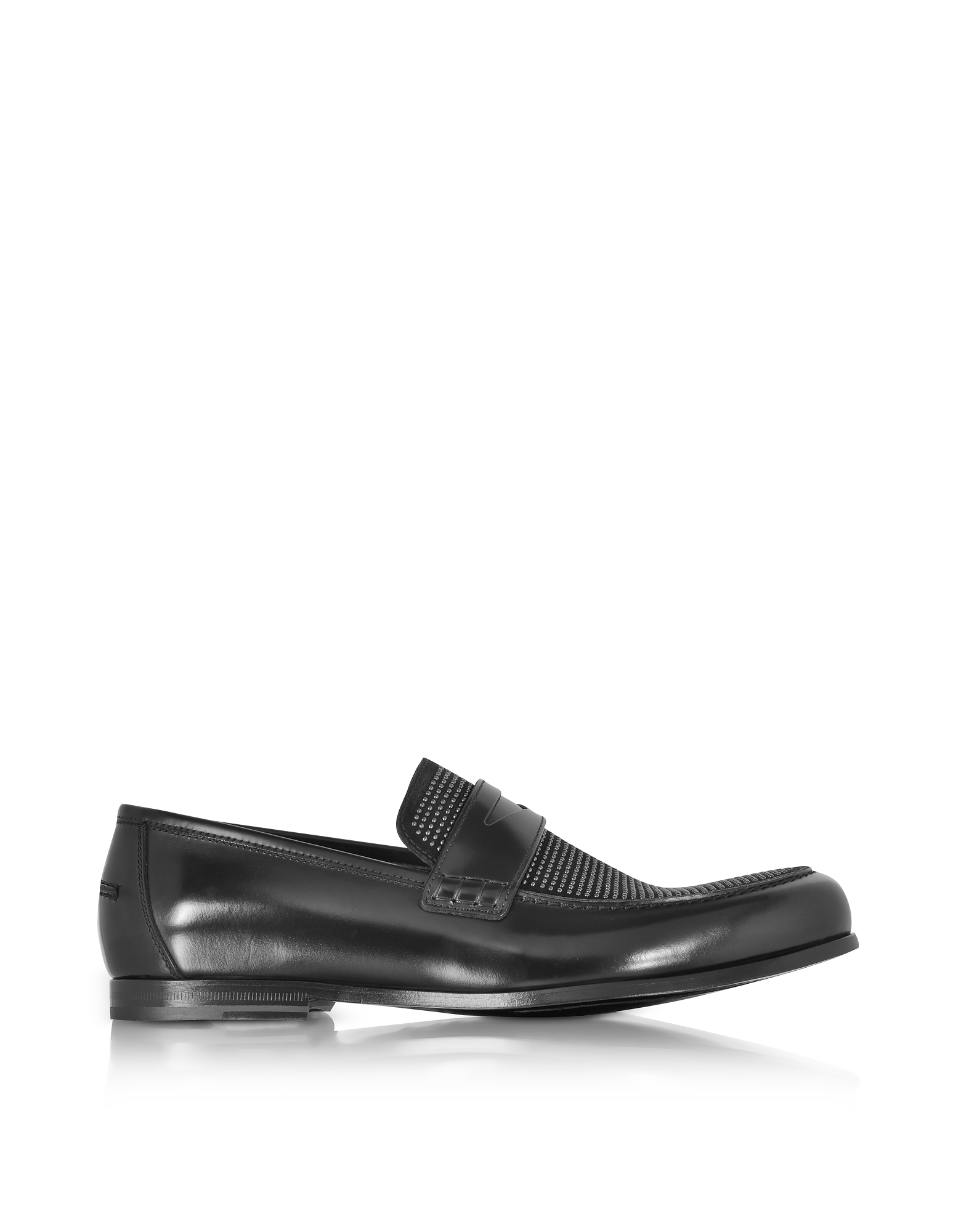 Jimmy Choo Shoes, Darblay Shiny Black Leather and Suede Loafers w/Studs