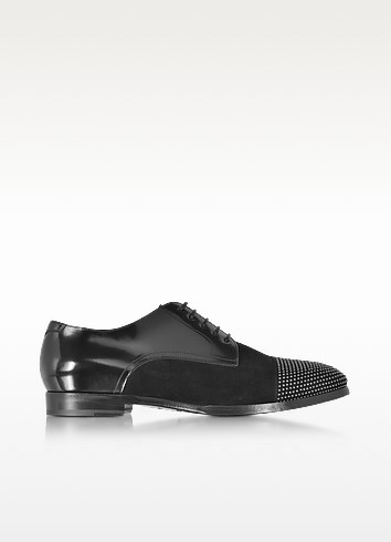 Penn Shiny Black Leather and Suede Studded Derby Shoes - Jimmy Choo