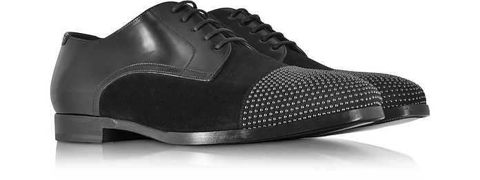 Jimmy Choo Men's Penn Shiny Black Leather and Suede Studded Derby Shoes
