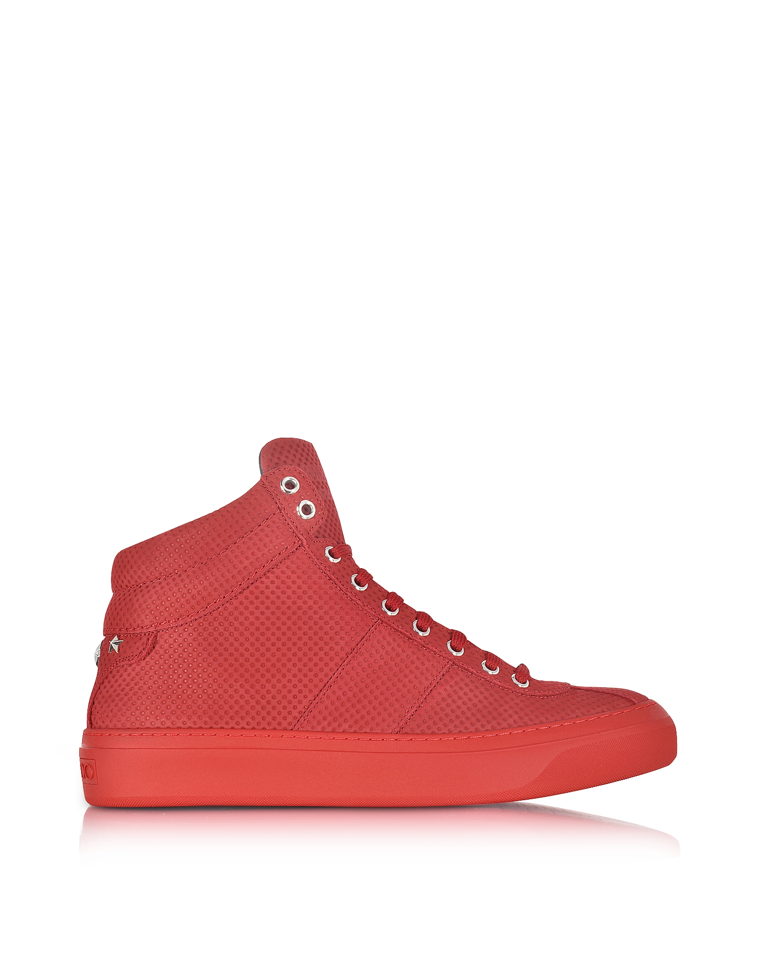 Jimmy Choo Shoes, Belgravia Deep Red Point Embossed Nubuck High Top Sneakers w/Stars
