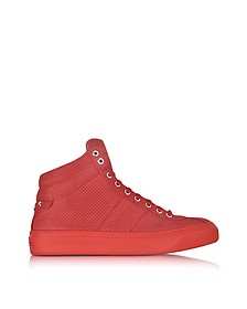 Belgravi Deep Red Point Embossed Nubuck High Top Sneakers w/Stars - Jimmy Choo