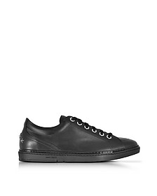 Cash - Sneakers Basses en Cuir Lisse Noir - Jimmy Choo