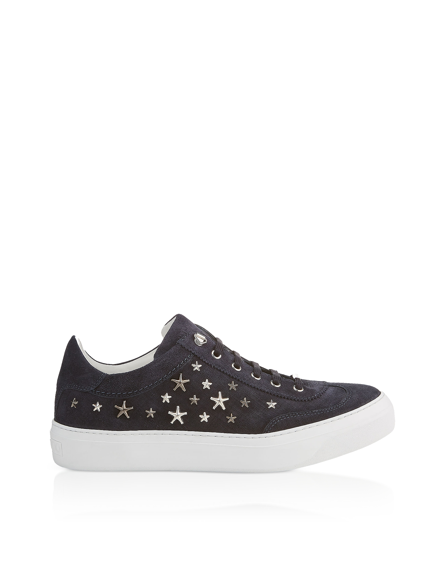 Jimmy Choo Shoes, Navy Blue Denim Suede Ace Low Top Trainers