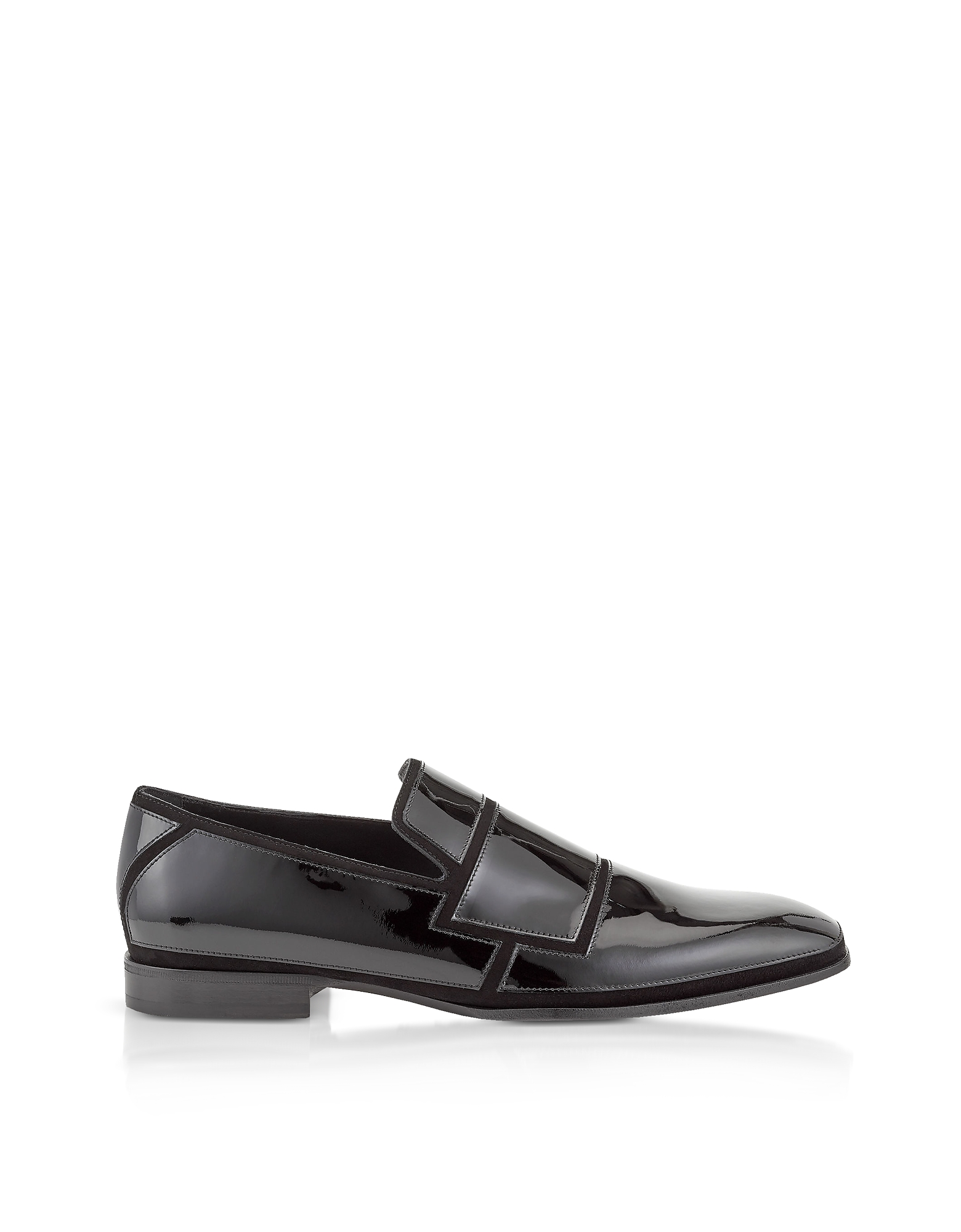 Jimmy Choo Shoes, Black Suede and Patent Spencer Loafers
