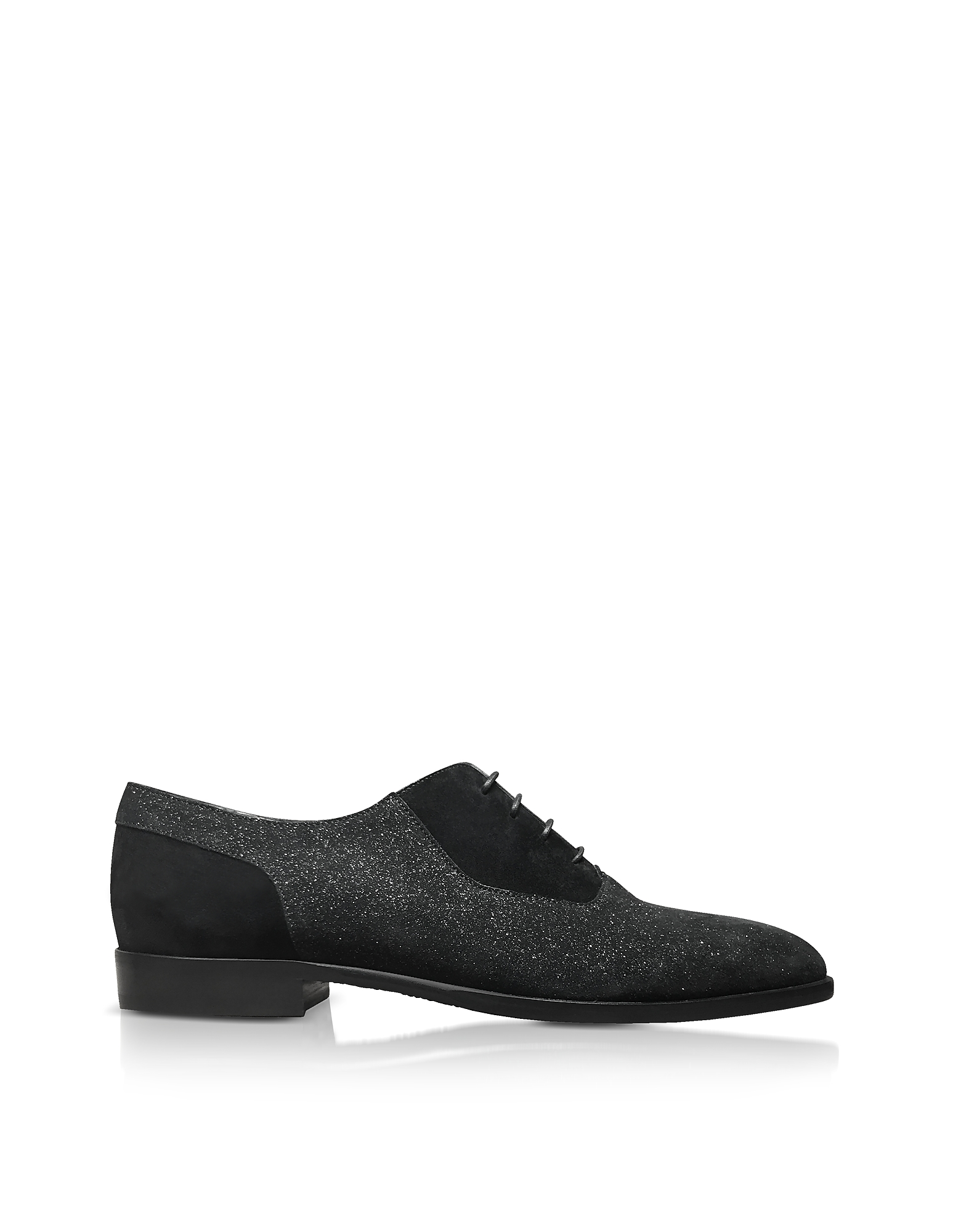 TYLER BLACK SOFT GLITTER SUEDE LACE UP SHOES from FORZIERI