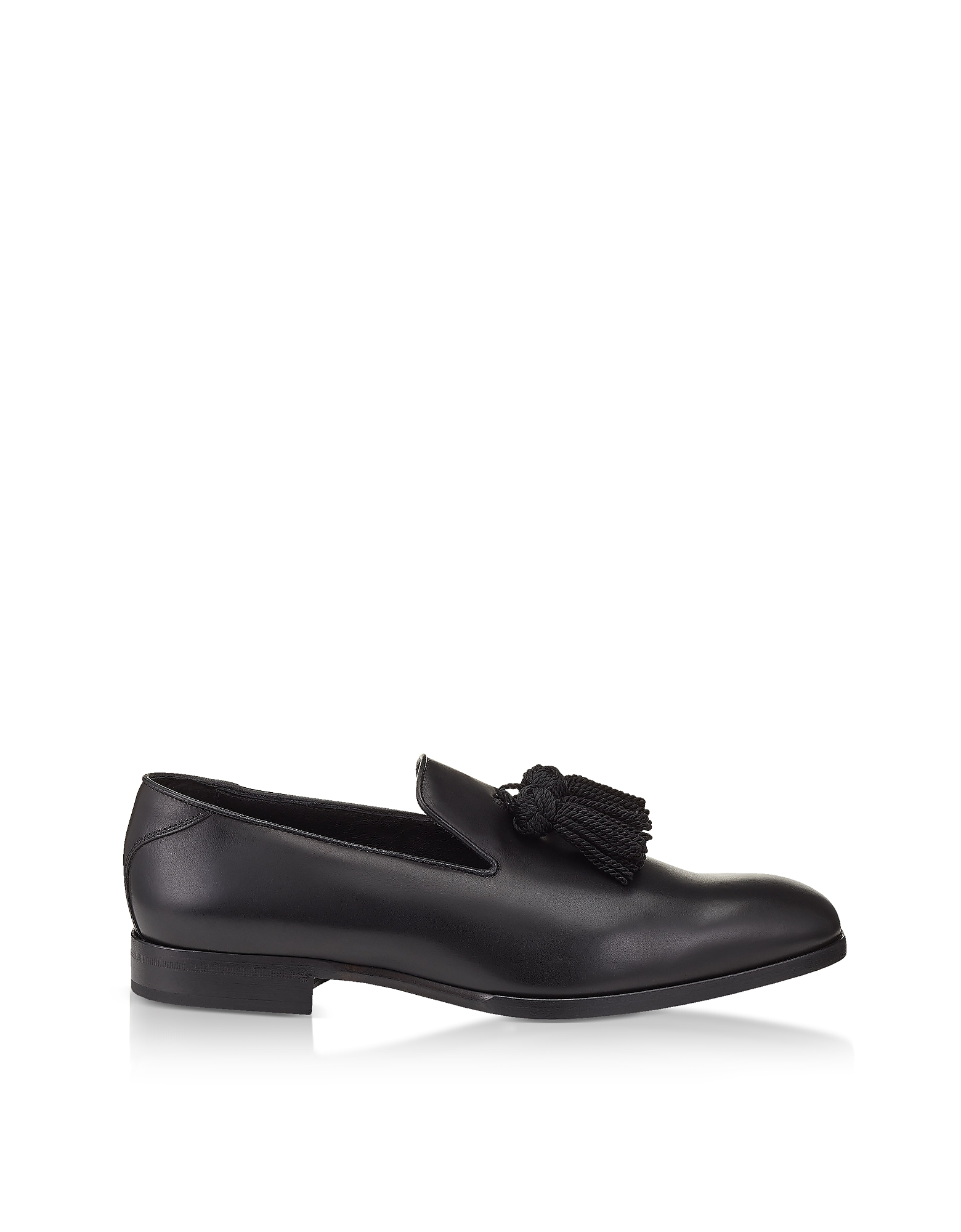 FOXLEY BLACK SOFT NAPPA LEATHER TASSELLED SLIPPERS from FORZIERI