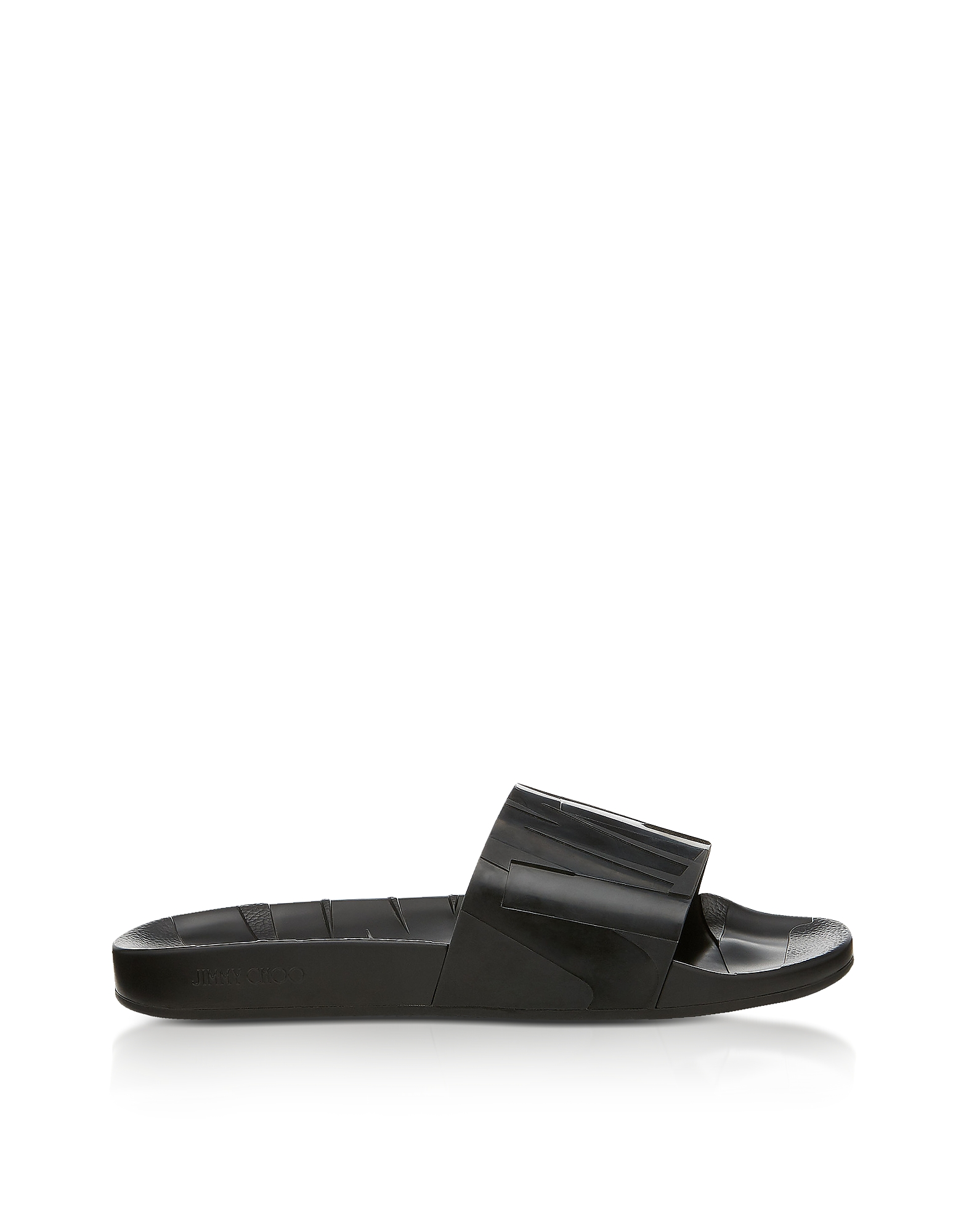 REY/M BLACK RUBBER SLIDES from FORZIERI