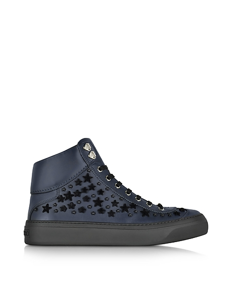 Jimmy Choo Argyle Official Navy Leather High Top Sneakers w Black Flocked Stars