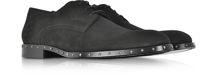 Jimmy Choo Axel Black Dry Suede Lace Up Derby Shoes w/Stars Studded Sole