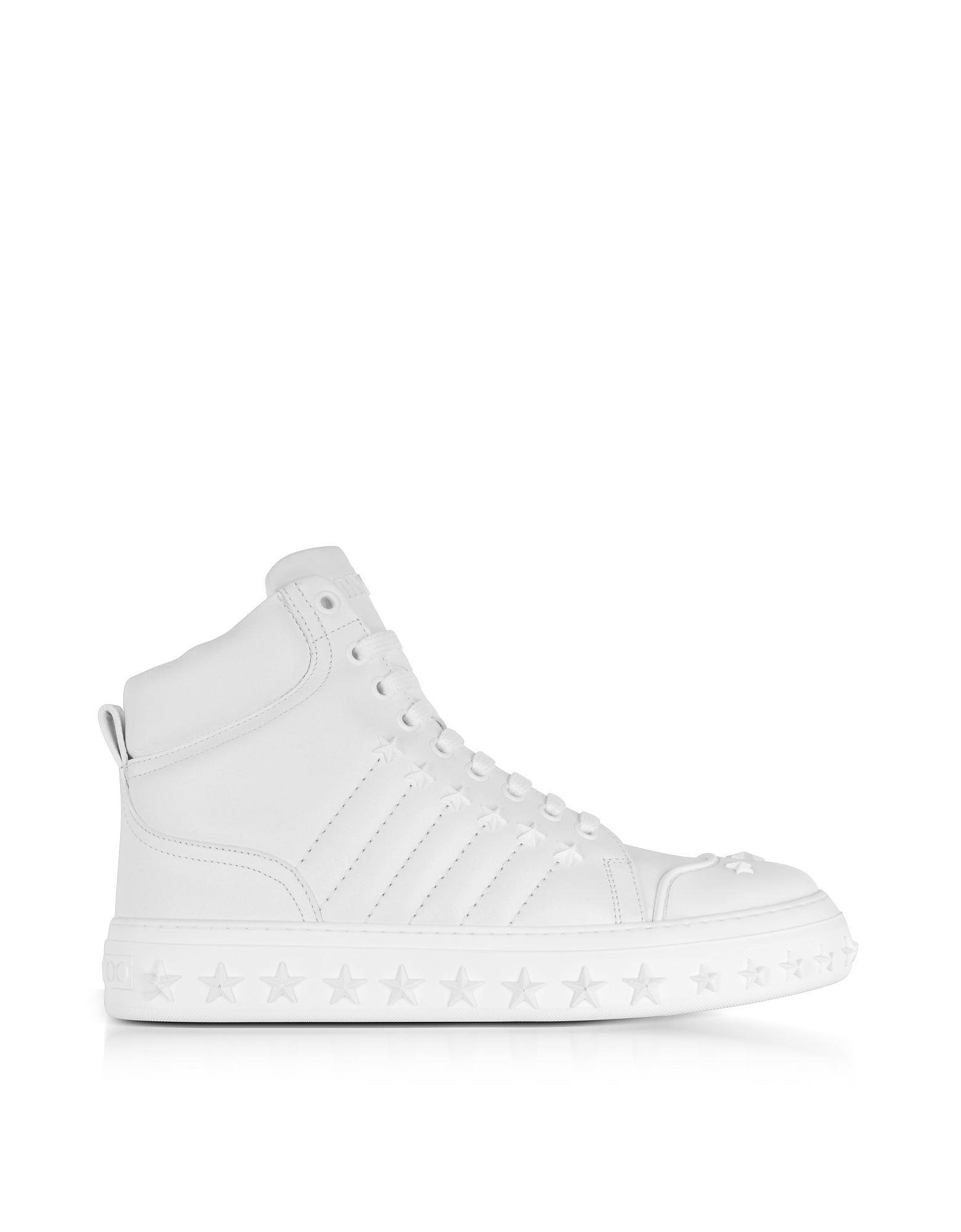 Jimmy Choo Shoes, Cassius Ulta White Leather High Top Sneakers w/Stars