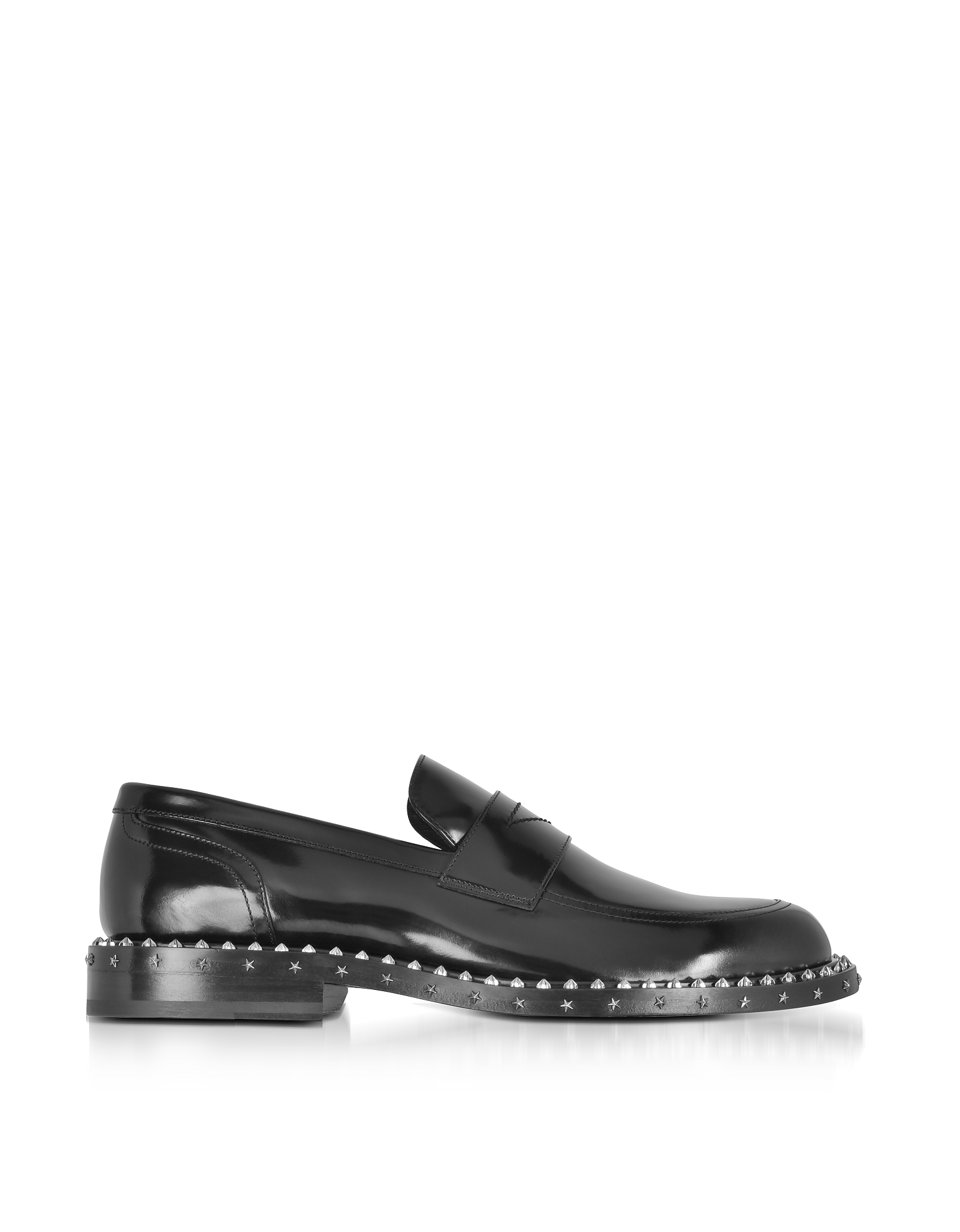 Jimmy Choo Shoes, Black Leather Stars and Studs Men's Loafer