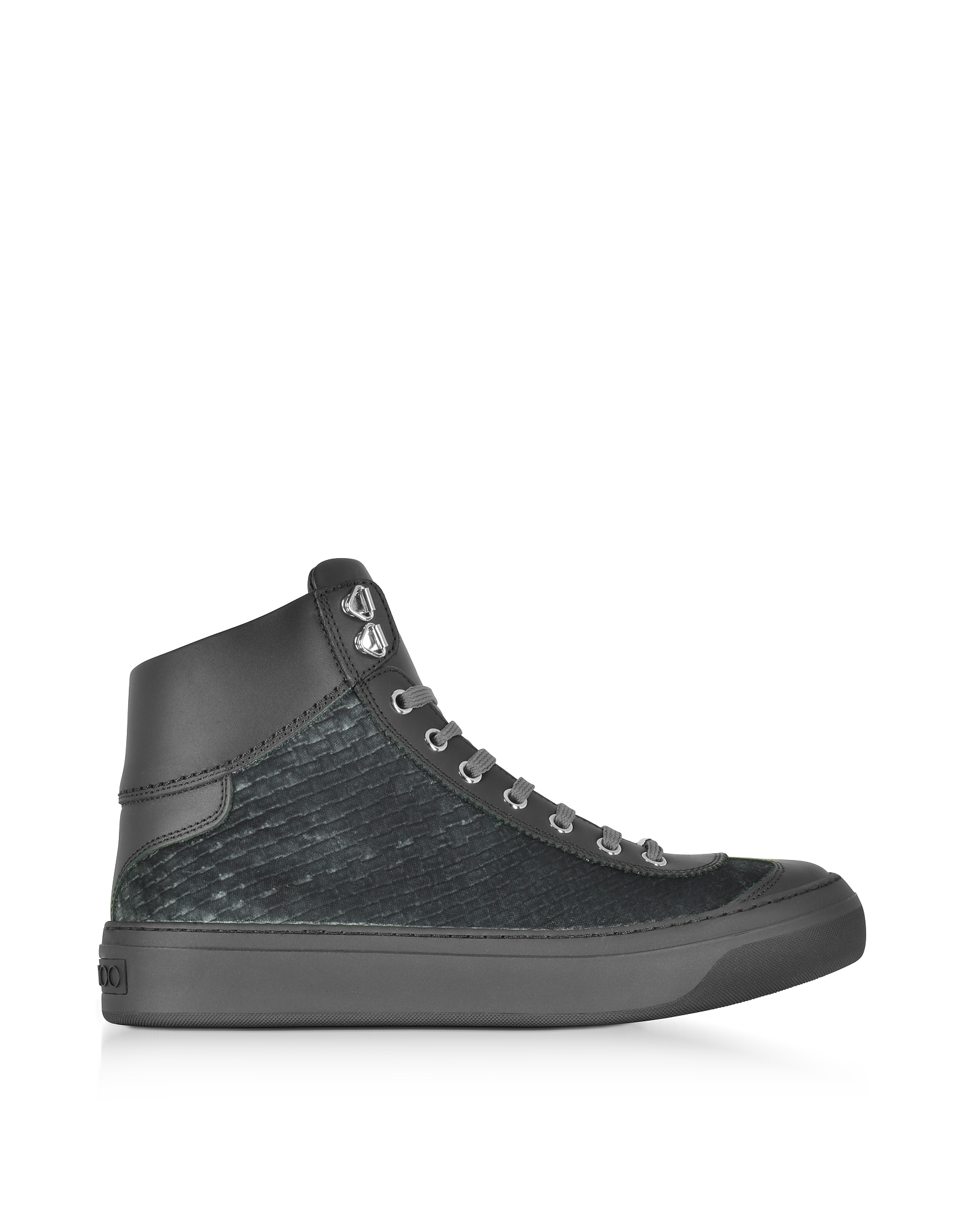 Jimmy Choo Shoes, Argyle Dust Grey Embossed Velvet High Top Sneakers