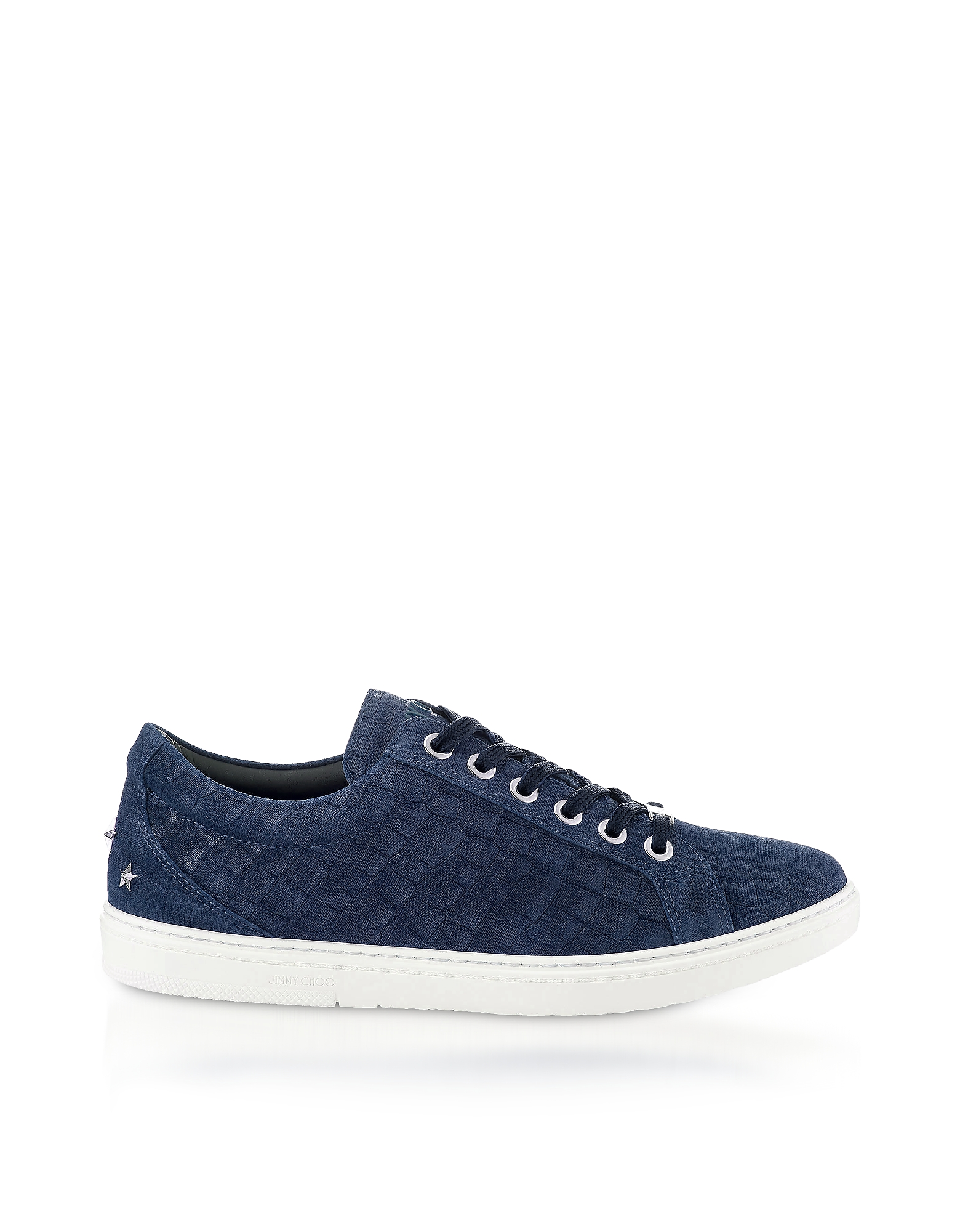 Jimmy Choo Shoes, Cash Navy Croco Print Denim Leather Low Top Trainers
