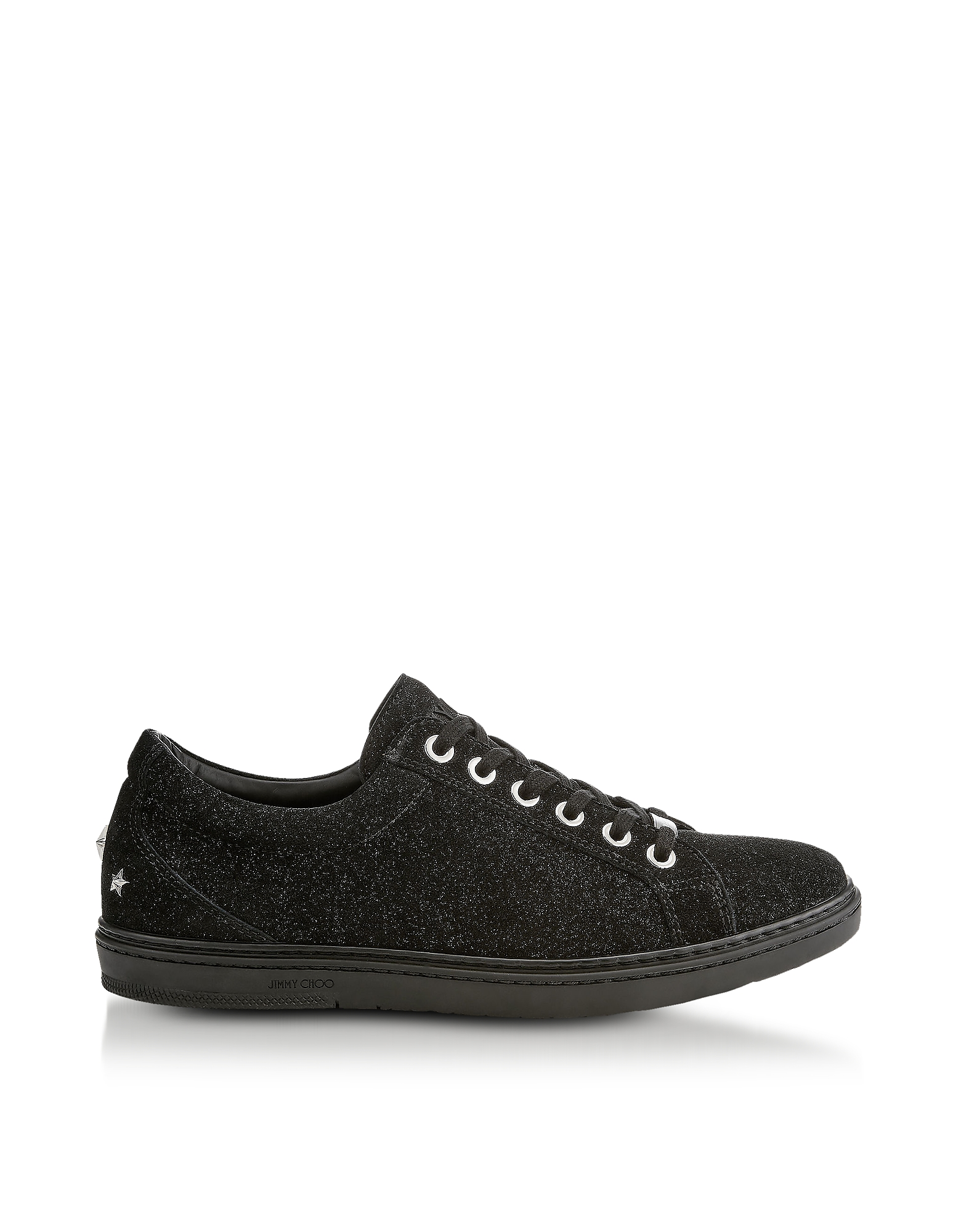 Cash Black Soft Glitter Suede Low Top Trainers