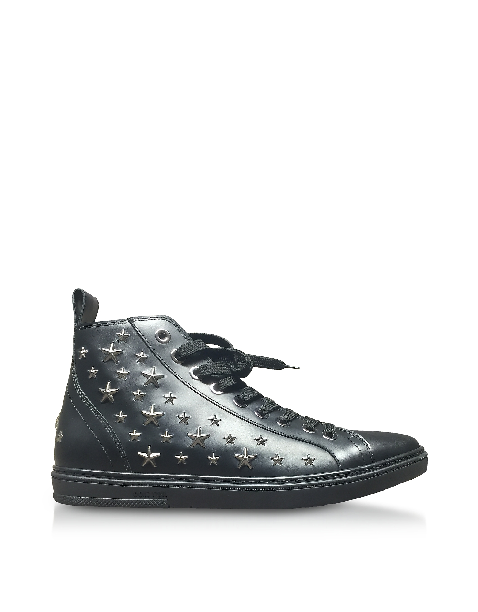 Jimmy Choo Shoes, Colt Black Leather Sport High Top Sneakers w/Multi Stars
