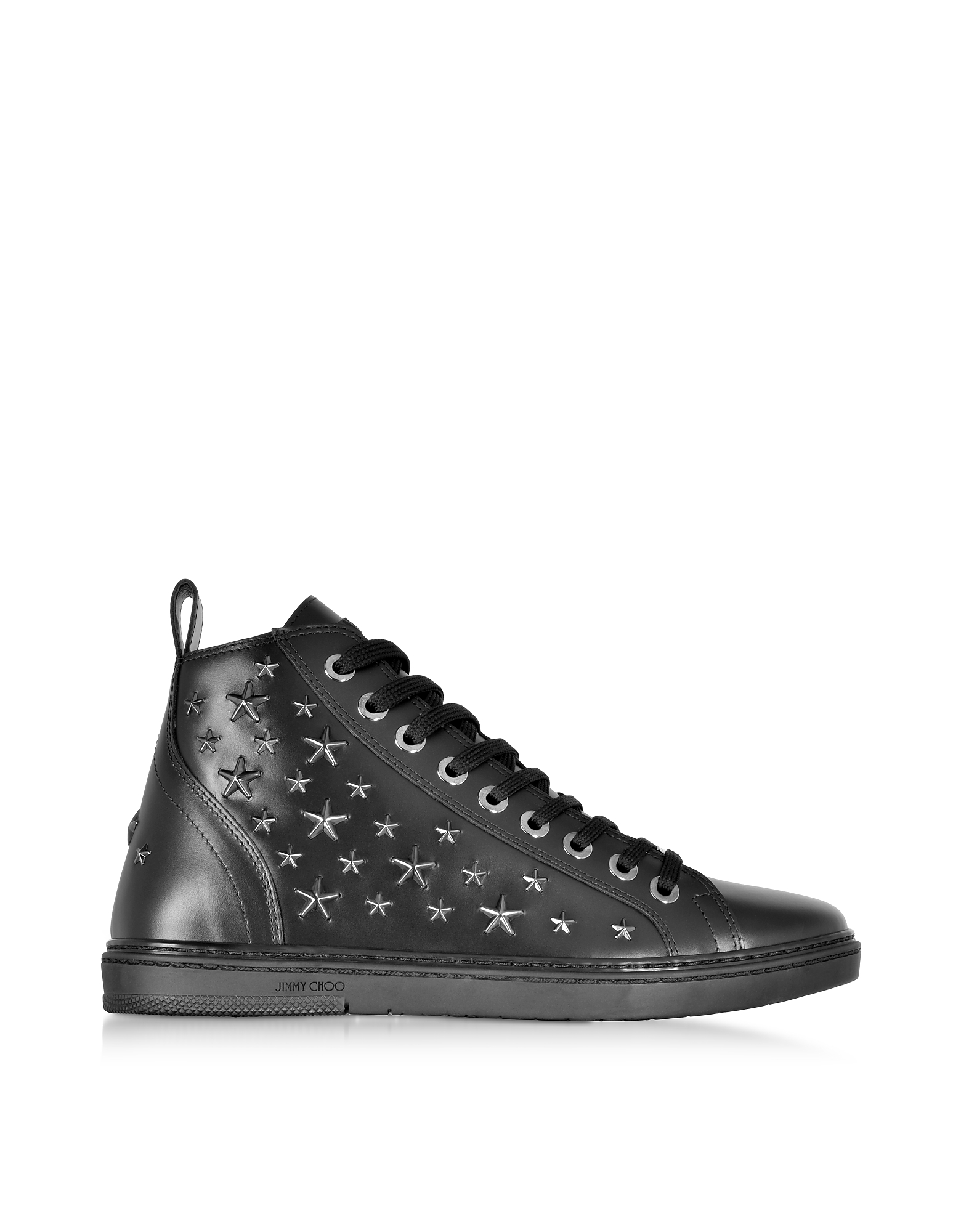 Jimmy Choo Designer Shoes, Colt Black Leather Sport High Top Sneakers w/Multi Stars