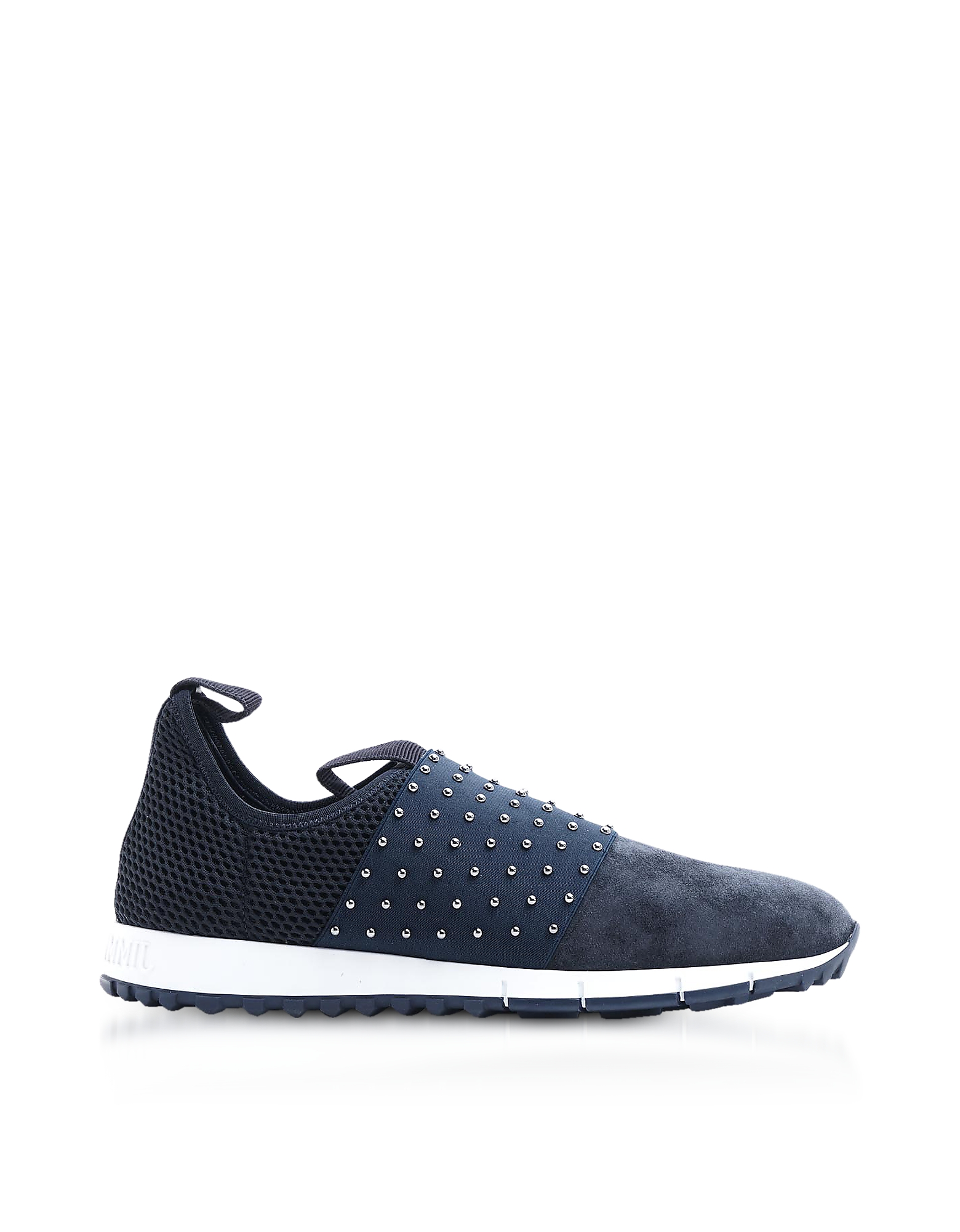 Jimmy Choo Shoes, Oakland/M Navy/Grey Velvet Suede and Pearl Elastic Slip On Trainers