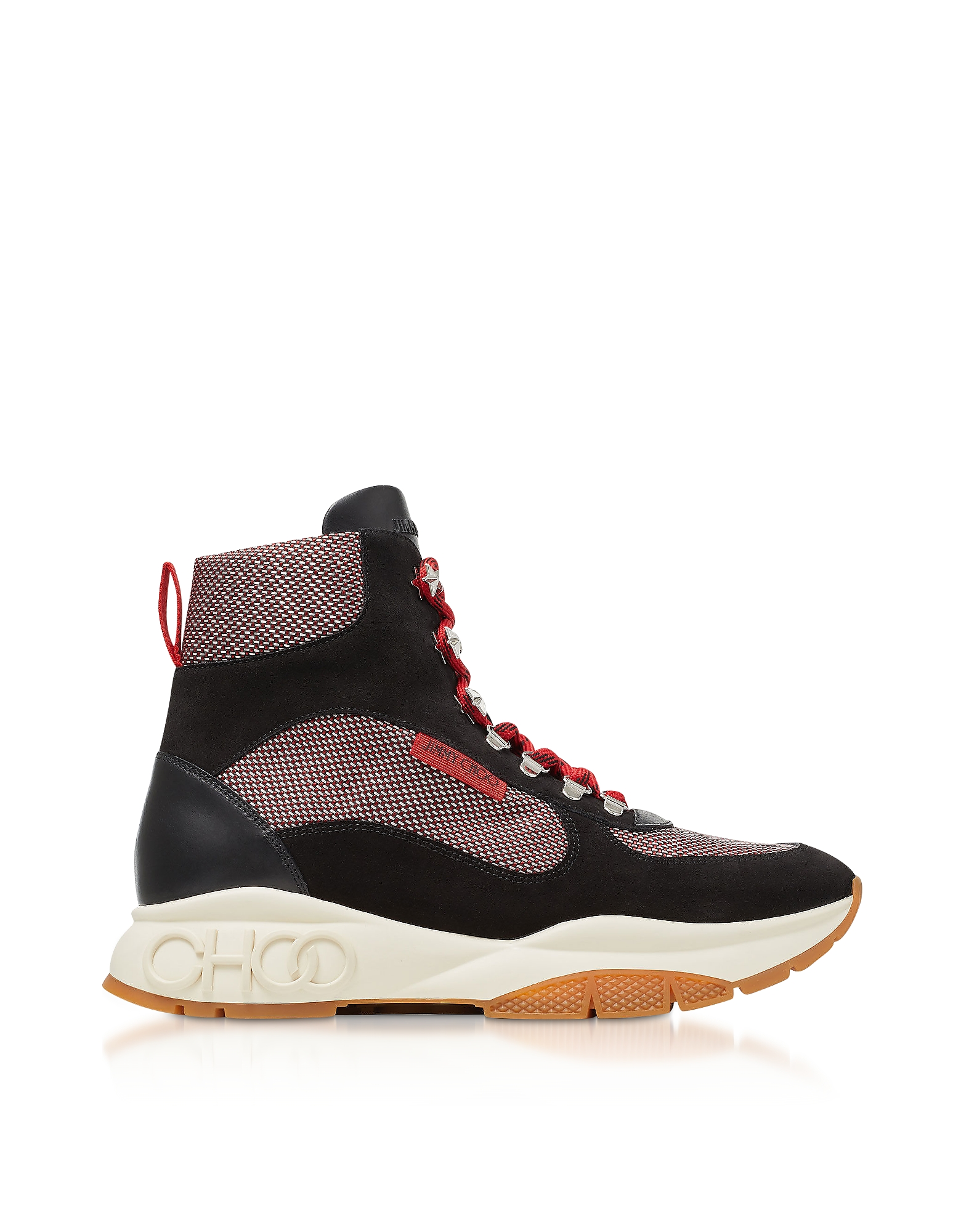 Jimmy Choo Designer Shoes, Wash Red Inca/M TEI High-Top Sneakers w/ Technical Mesh
