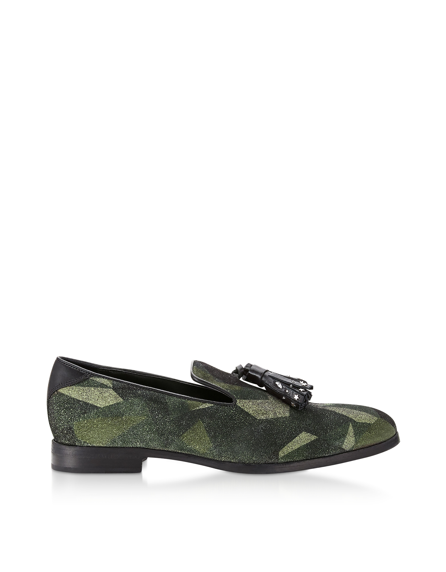 Jimmy Choo Designer Shoes, Camo Print Suede Foxley UUA Loafers w/ Studded Tassel