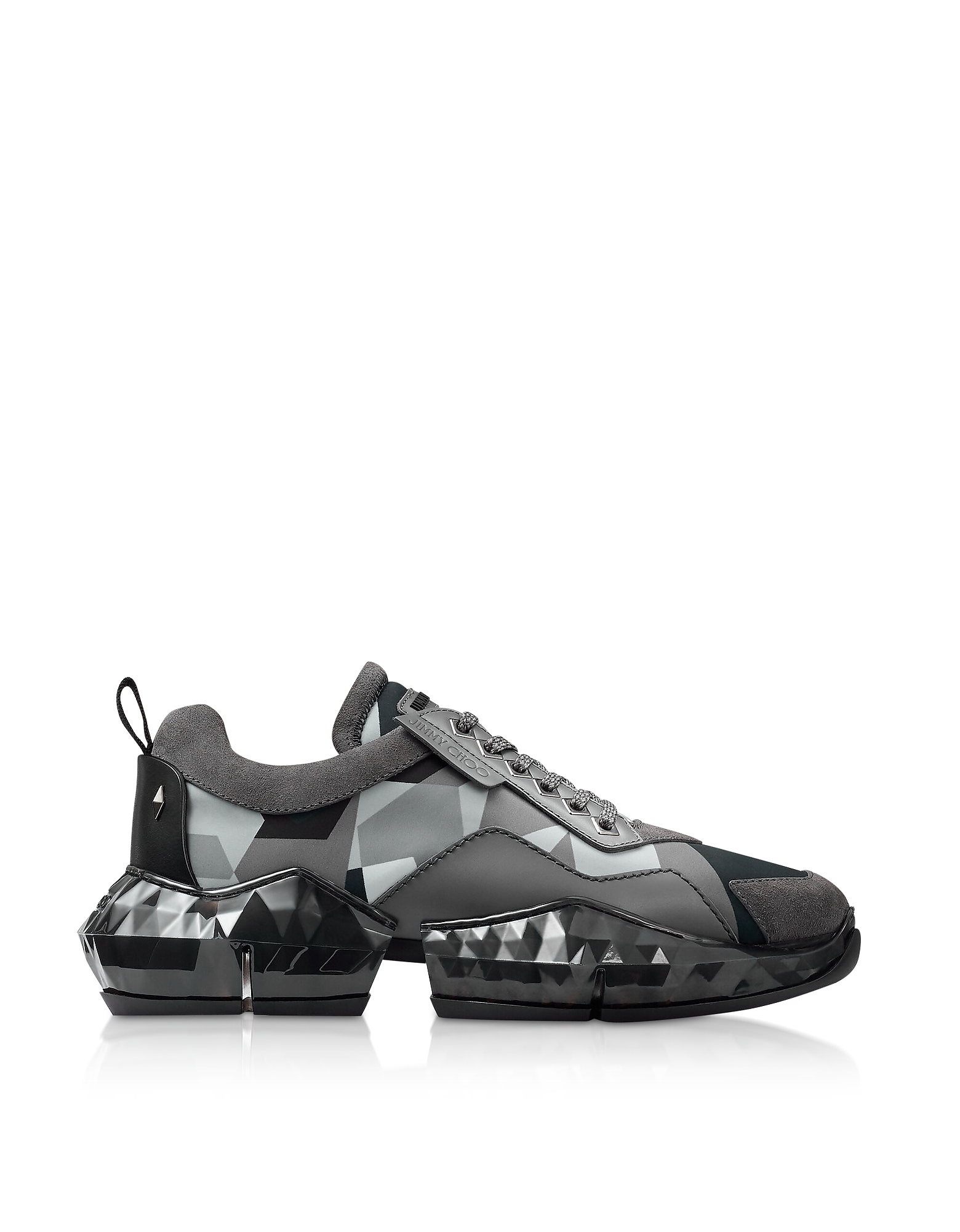 Jimmy Choo Designer Shoes, Anthracite Diamond Sneakers w/ Camo Print Nylon
