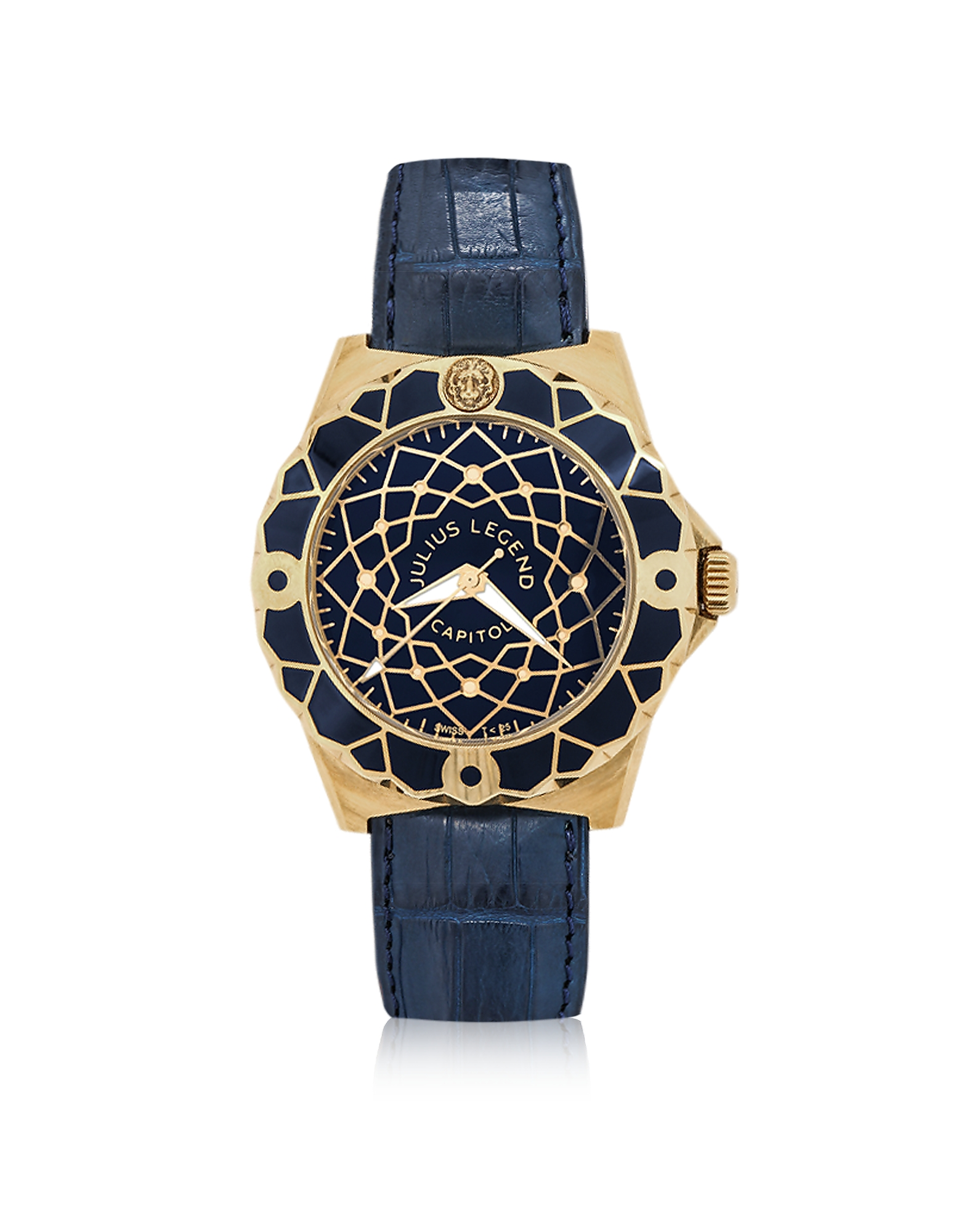 Capitol - 18K Gold & Blue Crocodile Leather Watch