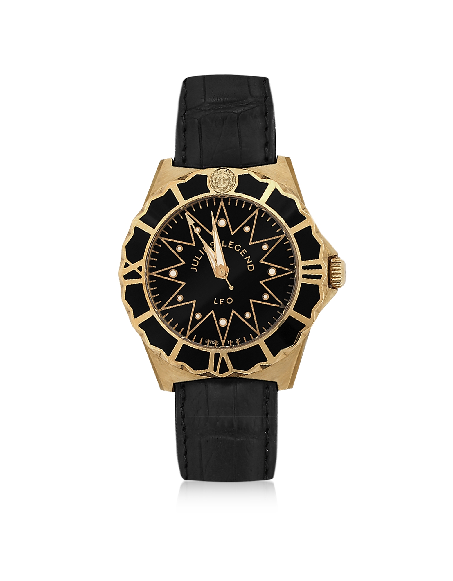 Julius Legend Men's Watches, Leo - 18K Gold and Crocodile Leather Automatic Watch