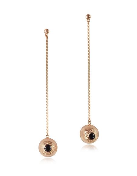 Bjorg Boucles d'Oreilles Pendantes Pendules en Bronze Plaqué Or Rose